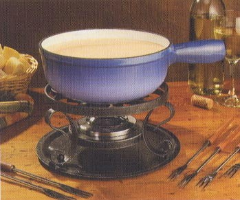 Cast iron cheese and chocolate fondue pot and burner