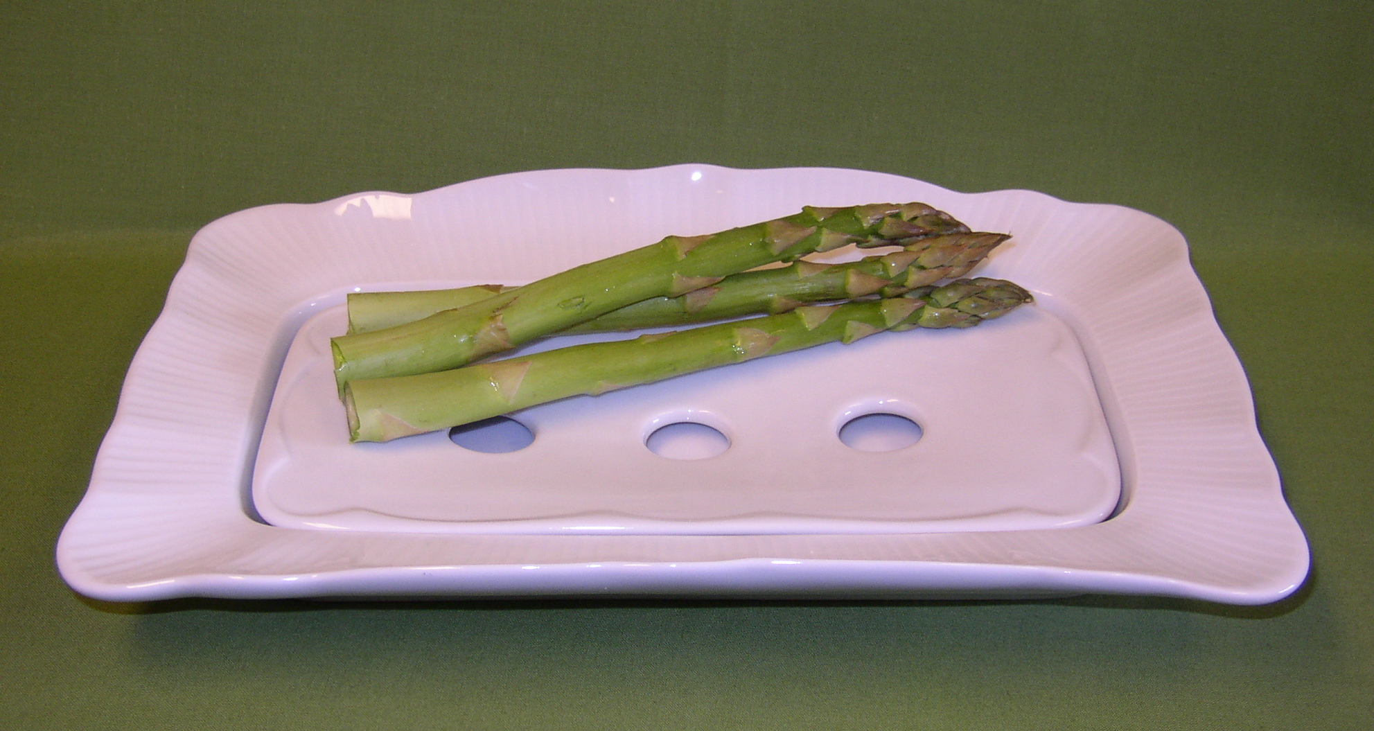 French porcelain asparagus serving plate- liquid drains to dish below for maintaining crispness